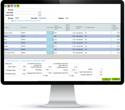 Bakery Billing Software with Recipe Management
